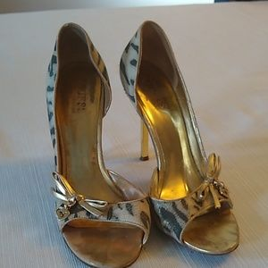Guess open toe bow embellished heels